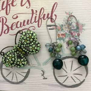 Teal blue and green drop earrings